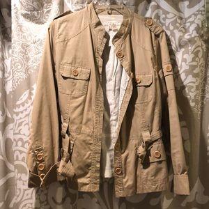 Khaki utility jacket with waist tie